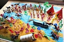 Vintage Cowboy And Indian Toys - Teepees, Canoe, Play Mat, Horses, Figurines