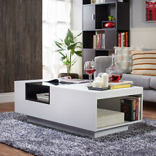 Modern Two-Tone White/Black Glass Top Coffee Table Living Room Furniture