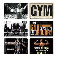 Gym Motivation Metal Sign Poster Plaque Rustic Retro Plaque Decor Plate Wall Bar