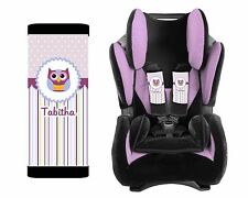 PERSONALIZED BABY TODDLER CAR SEAT STRAP COVERS PURPLE STRIPES OWL