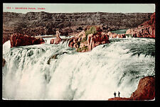 c1910 men viewing Shoshone Falls Snake River Idaho landscape postcard