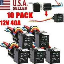 10pcs 12V 30/40 Amp 5-Pin Spdt Automotive Relay with Wires & Harness Socket Set
