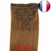 EXTENSIONS DE CHEVEUX A CLIPS 100% NATURELS REMY HAIR 53CM CHATAIN CARAMEL #12