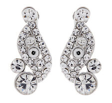 CLIP ON EARRINGS - silver with clear stones and crystals - Alana by Bello London