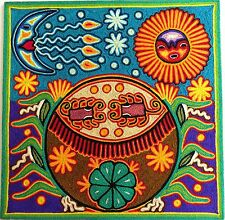 """12"""" Mexican Huichol Gourd bowl and Peyote yarn painting 30 - 005 F"""