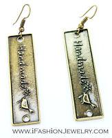 Handmade Bird Label Bronze EARRINGS Gold Brass Square Tag Drop Dangle Jewelry