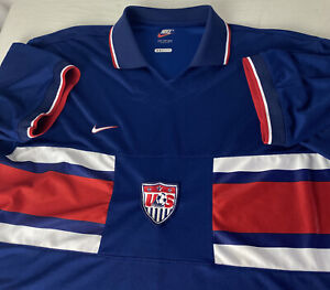 Vintage 90's Nike USA Soccer Futbol Jersey  Swoosh Patch Drifit XL World Cup
