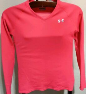 Under armour All Season Fitted LS Pink Workout T-Shirt (Womens Small)