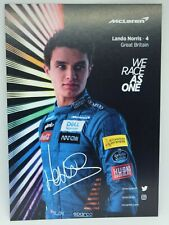 New listing 2020 Lando Norris McLaren F1 Driver Card Formula 1 Postcard Autograph