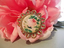 Shabby Rose Brooch - Beautiful antique gold setting