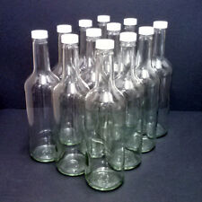 Clear Glass Wine Bottles 750ml with white screw caps, 12/pack