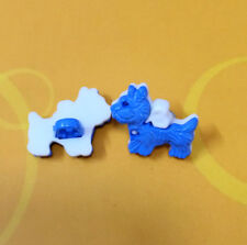 15 Scottie Dog Scottish Terrier Pet  Sew On Buttons 17mm Blue White K880