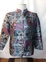 TUDOR COURT by HABAND Womens Small Tapestry Unlined Long Sleeve Blazer Jacket