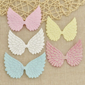 10 Pcs Glitter Fabric Angel Wing Artificial Leather Appliques DIY Craft Decor