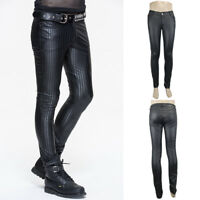 Devil Fashion PT045 Mens Punk Gothic Victorian Striped PU Black Trousers Pants