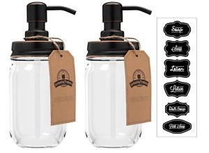 Mason Jar Soap Dispenser - Oil Rubbed Bronze - 16oz Clear Mason Jar - Two Pack