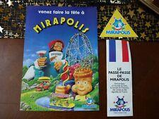 Lot plans et autocollant parc MIRAPOLIS vintage 1988 et 1991