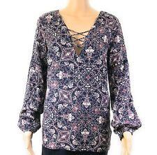 Charlotte Russe Womens Shirt Sz Small Pink Blue Floral Long Sleeve V-Neck BOHO