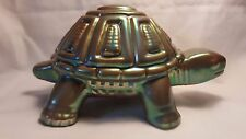 Vintage ZSOLNAY HUNGARY Green TURTLE Eosin Porcelain Figurine Hand Painted