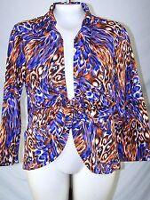 Mishca Purple Orange Multi 3/4 Sleeve Tie Front Top Womens Size Large 12 14