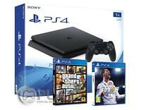 PS4 Slim 1Tb Consola - Pack 2 Juegos - FIFA 18 + GTA V