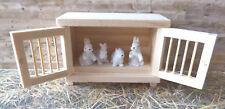 Hasenstall Hase Zwerghase 5 Teile Holz weiß Bauernhof Puppenstube Miniatur 1:12