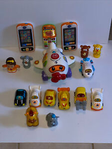 Lot Of 17 Vtech Toys (11) Are Battery Operated Cars Airplanes Talking Phones