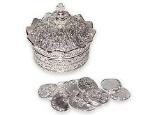 Elegant Silver Crown Wedding Arras with 13 coins set