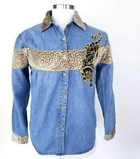Vintage Womens Jeans Shirt With Leopard Black Cat Patch Long sleeve Size L
