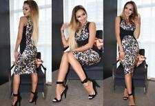 Ladies Brown/Black-Panels V Neck,Animal/Leopard Print,Bodycon Midi Dress.Size 14