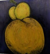 OIL PAINTING SIGNED ORIGINAL Square Canvas 10 x 10 x 2 Indigo Blue Yellow Pear