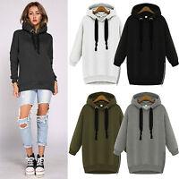 Women Casual Hoodies Long Sweatshirt Hooded Zip Jacket Coat Sweater Tops UK 6-16