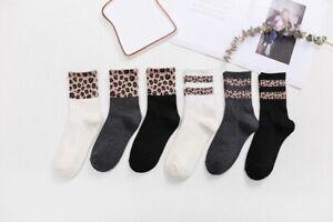 Leopard Spots Stripe Crew Socks Streetwear Hip Hop Animal Print Cotton Stockings