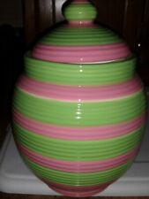 Pet studio Petstudio Ceramic Treat jar Pink and Green Stripes New