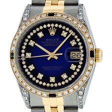 ROLEX MENS DATEJUST SS AND 18K GOLD BLUE VIGNETTE DIAMOND AND SAPPHIRE WATCH