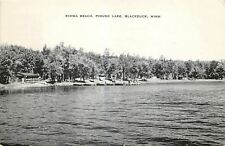 Blackduck Minnesota~Pimush Lake~Kiowa Beach~log Cabin~Boats Docked~1954 B&W