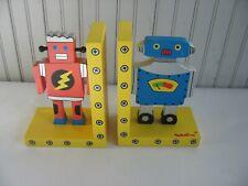 Wooden Pair of Tatutina Robot Bookends children sci-fi space Colorful Fun Books