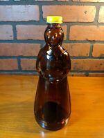 Vintage Mrs. Butterworth's Syrup Brown Glass Bottle w/Metal Cap/Lid 24oz ~ 10""