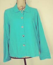 Casual Corner Top Large Turquoise Linen Rayon Blend Button Front Long Sleeve