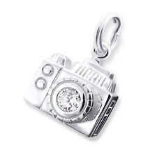 Cámara Digital silvador CZ Anillo de Split 925 plata esterlina pulsera con dijes 012