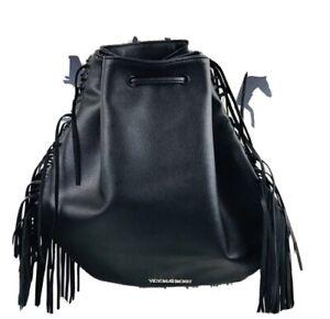 Victorias Secret Womens Faux Leather Fringe Backpack Black