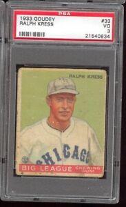 1933 Goudey Ralph Kress #33 Chicago White Sox PSA 3 Low Lo Number SET BREAK