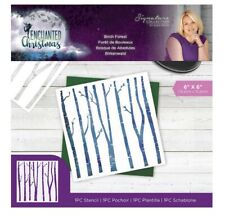 Sara Signature 6in X 6in Stencil Birch Forest   Enchanted Christmas