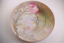 Vintage Hand Painted PSAG Bavaria Decorative Plate Pink Flowers