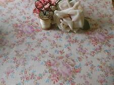 Antique Vintage Cottage Roses Cotton Fabric ~ Lavender Pink Blue Salmon