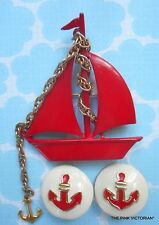 VINTAGE nautical RED SAIL BOAT pin MATCHING clip on EARRINGS anchor theme B4