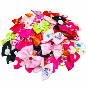 50Pcs Pet Dog Cat Hair Bows W/Rubber Bands Puppy Bowknot Grooming Accessories