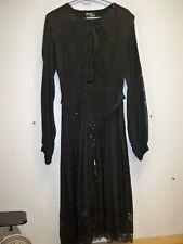 Vtg Orients Exclusive Black Muslin Dress Medium Boho Prairie Lace Very Nice