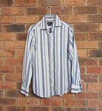HERRINGBONE Sydney size L Mens White Blue Green Striped Long Sleeve Button Shirt