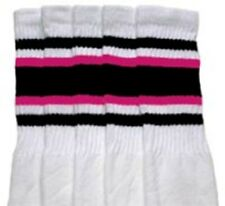 "25"" KNEE HIGH WHITE tube socks with BLACK/HOT PINK stripes style 4 (25-64)"